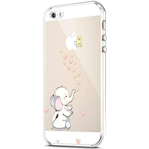 - ikasus Case for iPhone SE/iPhone 5S 5 Case,Crystal Clear Art Panited Pattern Design Soft & Flexible TPU Ultra-Thin Transparent Flexible Soft Rubber Gel TPU Protective Case Cover,Love Heart Elephant