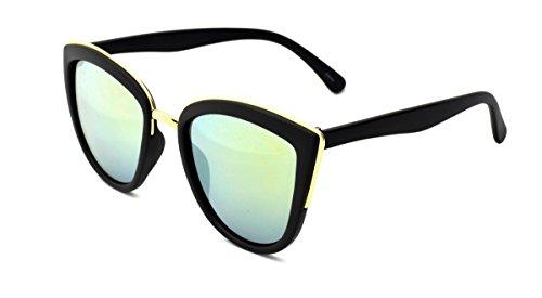 Dollhouse Women's Cateye Sunglasses, Opaque Matte Black Frame with Metal Bridge and Brow Detail, Smoke Gold Mirror Lens, - Dollhouse Sunglasses