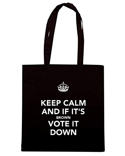 Speed Shirt Borsa Shopper Nera TKC0429 KEEP CALM AND IF IT'S BROWN VOTE IT DOWN