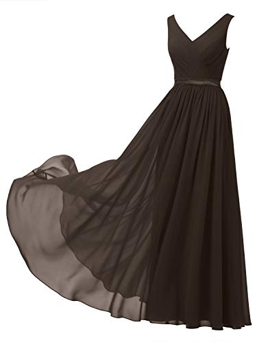 Alicepub V-Neck Chiffon Bridesmaid Dress Long Formal Gown Party Evening Dress Sleeveless, Espresso Brown, US10