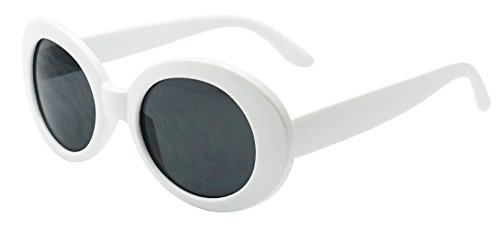 Original Classic Dark Oval Lens Kurt Cobain Inspired Nirvana Bold Trending Sunglasses (White | Black, 65) (Sunglasses For Women Oval)