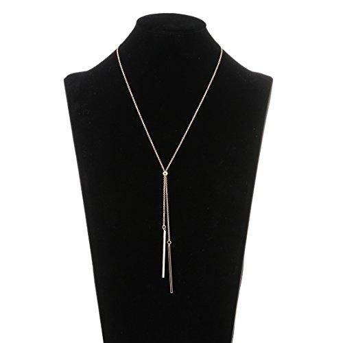 Lariatneck Long Tassel Necklace Bar Y Lariat Gold Long Chain Drop Adjustable Necklaces for Women