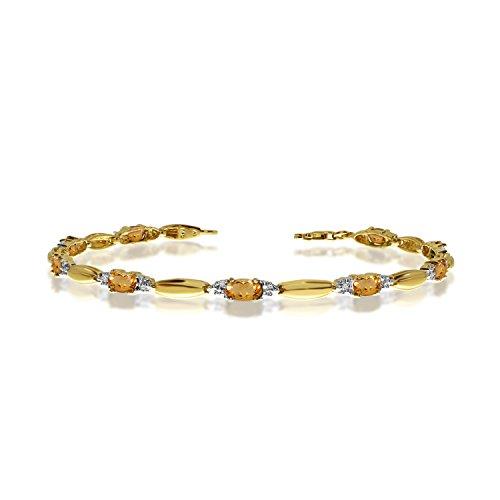 (2.07 Carat (ctw) 14k Yellow Gold Oval Yellow Citrine and Diamond Tennis Bracelet - 7