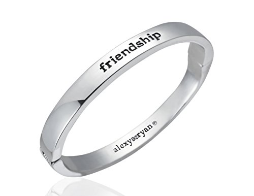 (alexys•ryan Silver Friendship Bangle Bracelet with Swarovski Crystal - Matching Fashion Bracelets for Women and Girls - With a Jewelry Gift Box - Inspirational Oval Metal Bangles with Magnetic Closure)