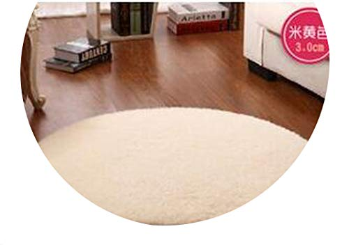 Lady Night Solid Color Round Carpet for Living Room Large Size Faux Fur Area Rugs Home Decoration,Rice Yellow,Diameter 100Cm