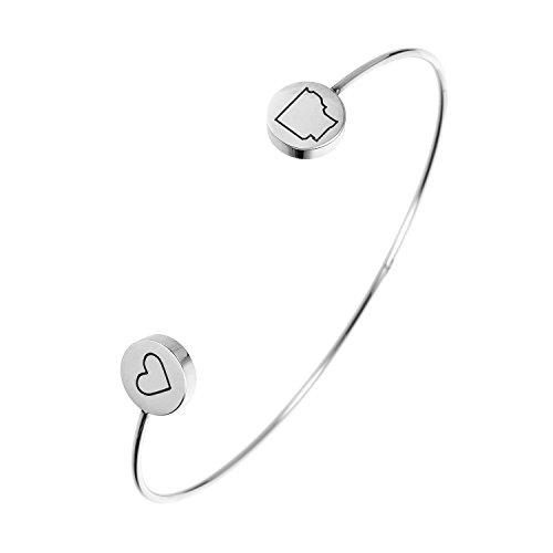 (State Bangle Bracelet Arkansas AR - Open Wire Cuff Stainless Steel)