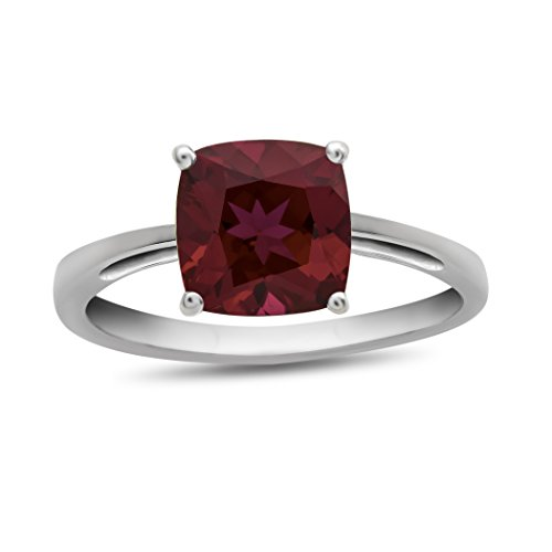 (Finejewelers 10k White Gold 7mm Solitaire Cushion Created Ruby Ring Size)