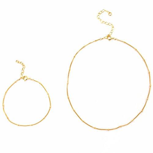 Choker Necklace for Women, Dainty 14K Gold Filled Fine Chain, Layered Beaded Pendant choker Set, Made in USA (Mini Beaded Set (Choker & (Forever 21 Halloween Ideas)