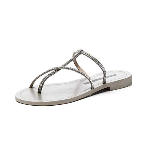 Al Chancletas Plano Fondo Ocio Mujeres Ligero Brillante Zapatillas altura Imitación Sandalias Talón Silver Verano Las 2cm Interior Diamante Del De Libre Aire E6pxdpq