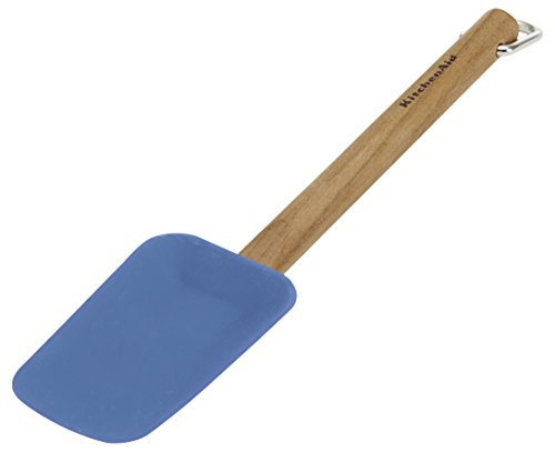 KitchenAid Gourmet Silicone Spoon Spatula with Cherry Wood Handle, Ocean Blue