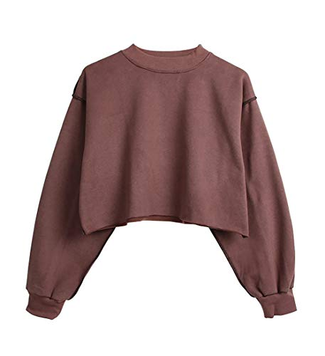 (Women Pullover Cropped Hoodies Long Sleeves Sweatshirts Casual Crop Tops for Fall Winter (Reddish Brown,)