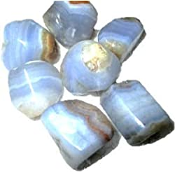 """Wow Blue Lace Agate Tumbled Stone 100 grams Approx. 0.75"""" to 1""""inch Genuine A Grade w/Velvet Pouch IMAGE IS JUST A REFERENCE"""