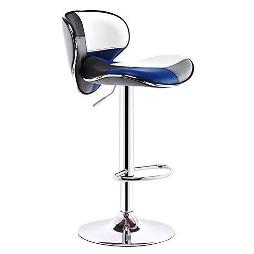 (CAIJUN Bar Stool Multifunction Thicken PU Fabric with Backrest Height Adjustable 360° Rotation Assembly Leisure, 9 Colors Dual-use (Color : Blue, Size :)