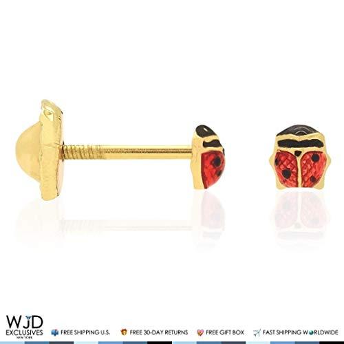 (14K Solid Yellow Gold Red Enamel Small Ladybug Screw Back Stud Kids Earrings 3mm)