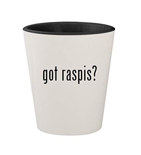 got raspis? - Ceramic White Outer & Black Inner 1.5oz Shot - Raspy Hen Glass Old