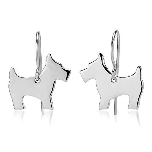 925 Sterling Silver Scottish Terrier Scottie Dog Dangle Hook Earrings