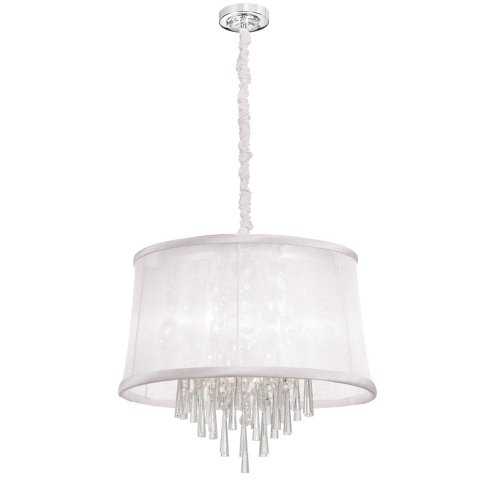 Dainolite Lighting JUL226-PC-119 6-Light Crystal Chandelier with White Organza Bell Shade, 28