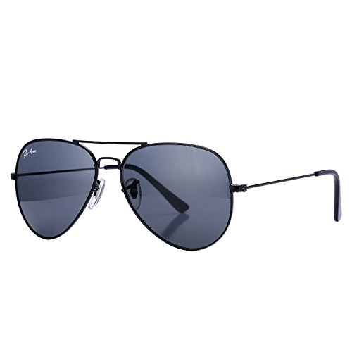 Pro Acme Aviator Crystal Lens Large Metal Sunglasses (Black Frame/Crystal Gray - Black Luxury Sunglasses Logo