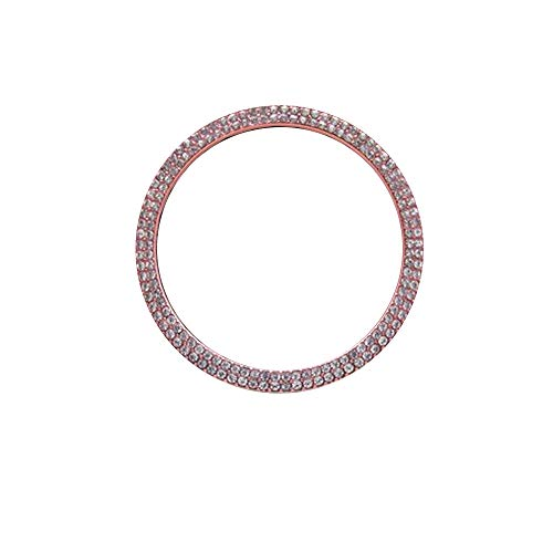 BENBW 1Pcs Car Steering Wheel Cover Alloy Decoration Frame for Jaguar Rhinestone (Rose Gold/Silver)