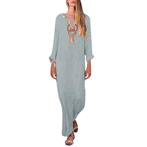 Maxi Dresses Split Hem Baggy Kaftan Womens Printed Long Sleeve V-Neck Long Dress