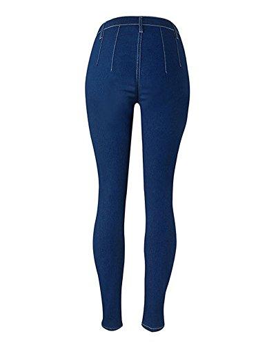 Leggings Alta In Elastico Matita Jeans Marino A Donna Skinny Vita Mengmiao Pantaloni Denim Lunghi Blu wIxUCAqz