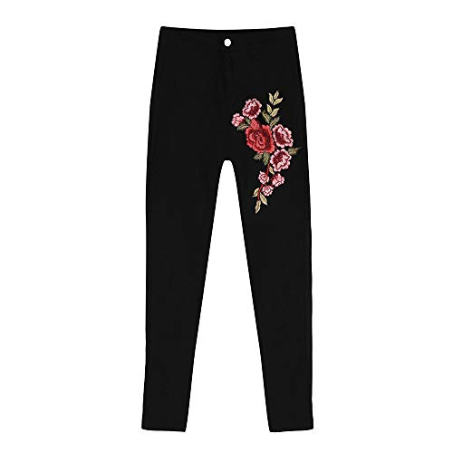 VECDUO Women Skinny Sexy Floral Embroidered Jeans High Waist Stretch Pencil Pants Black by VECDUO Women's Jeans (Image #5)