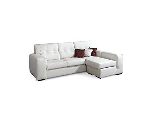 Sofá angular de ecopiel de color blanco de 4 plazas - Estilo ...