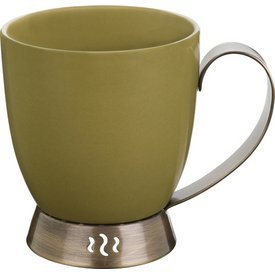(Trudeau Bianca Green Porcelain and Stainless Steel 10 ounce Mug - Set of 2)