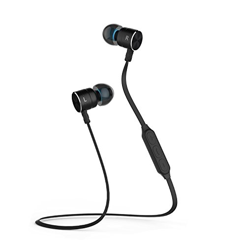 Magnetic Wireless Earbuds Bluetooth Headphones Sport in-Ear Sweatproof Earphones with Mic (Super Sound Quality, IPX5, aptx, 8 Hours Play Time, Secure Fit Design) (Black)