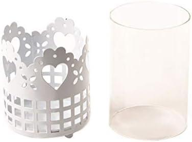 QIQIDEDIAN キャンドルホルダーホワイトハート型キャンドルライトナイトライト錬鉄製ガラスロマンチックなバレンタインデー