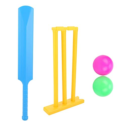(Alomejor Cricket Set for Kids Cricket Bat and Ball Beach Wicket Stand 1 Bat 2 Balls and 1 Batting Board)