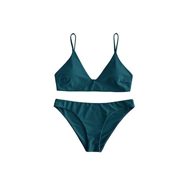 ZAFUL Bikini da Donna in 2 Pezzi Costume da Bagno Foglia Tropicale Bralette Imbottita 1 spesavip