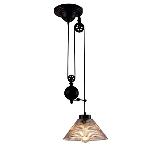 NIUYAO Edison Vintage Retro Loft Industrial Pulley Pendant Lights Lamp with Cone Ribbed Glass Adjustable Wire Lamps Retractable Ceiling Lighting (Light Cone Glass Pendant)