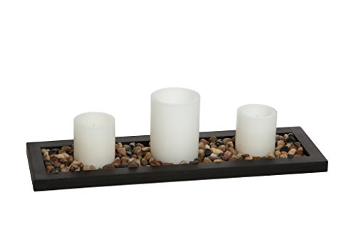 Hosleys Flameless LED Candle Gift Set - Set of 3 Pillar Candles, Decorative Pebbles and Wood Tray. Ideal Gift for Home Office, Wedding, Party, Family Room, Spa, Aromatherapy, Candle Gardens O6