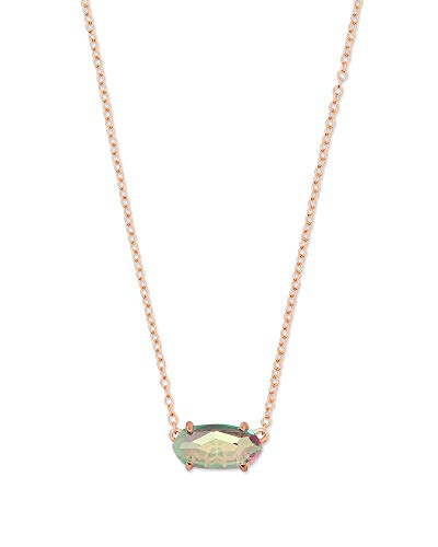 - Kendra Scott Blush Dichroic Glass Ever Rose Gold Pendant Necklace