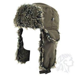 ZANheadgear Trooper Hat with Grey Fur (Olive, One Size) by Zanheadgear