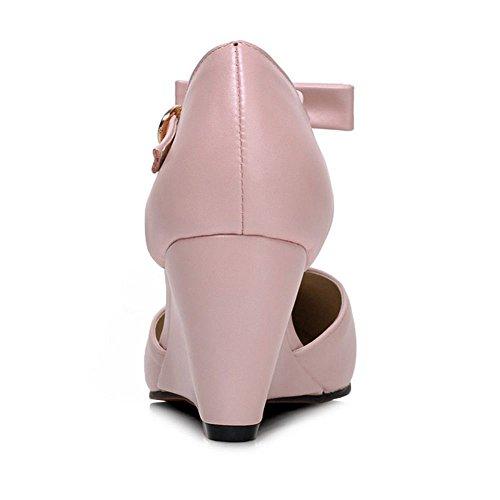 COOLCEPT Mujer Moda Correa en T Mujer Vestido Tacon de Cuna Bombas Zapatos con Bowknot Rosado