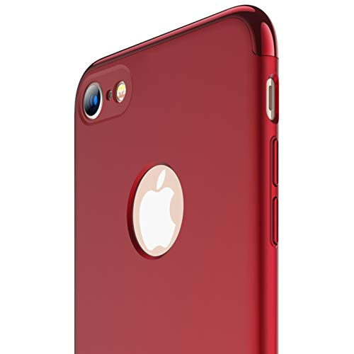 iPhone 8 case, RANVOO Slim Fit Hard Thin Stylish Cover with 3 Detachable Parts [Support Wireless Charging] Case, RED [Clip-ON]