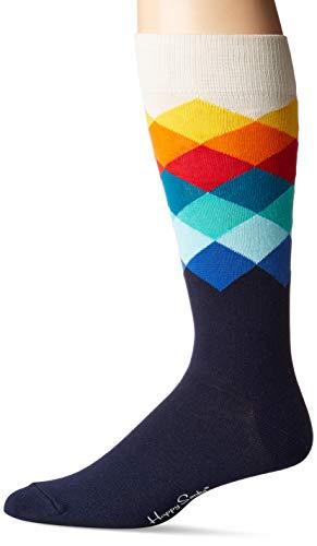 Happy Socks Men's Faded Diamond Socks Navy Combo Men's Shoe Size - Socks Diamond Men