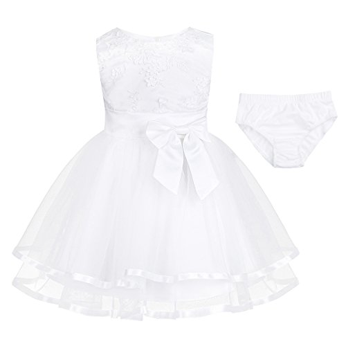 FEESHOW Baby Girls' Embroidered Flower Party Wedding Dress Christening Baptism Gown with Panty White 0-3 Months