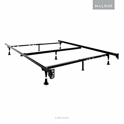 STRUCTURES Heavy Duty Adjustable Metal Bed Frame with 7 Legs, Center Support and Rug Rollers or Glides - (Queen, Full XL, Full, Twin XL, Twin)