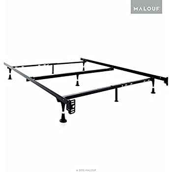 structures heavy duty adjustable metal bed frame with 7 legs center support and glides only queen full xl full twin xl twin