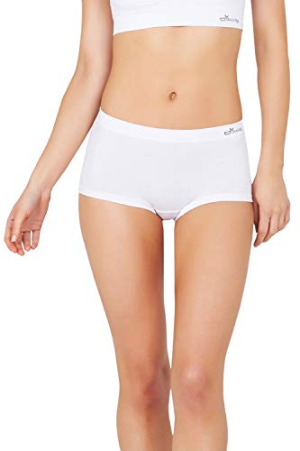 - Boody Body EcoWear Women's Boyleg Briefs Seamless Boyshort Underwear Made from Natural Organic Bamboo Viscose - Soft Breathable Eco Fashion for Sensitive Skin - White, Medium, Two Pack