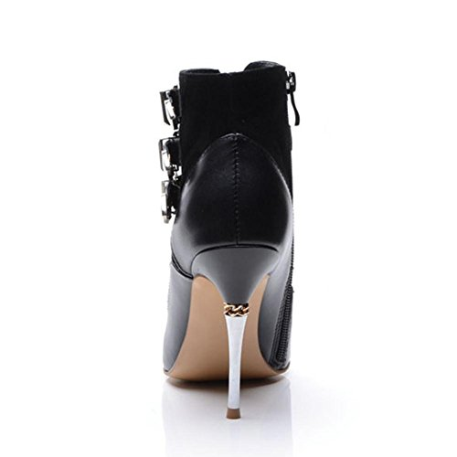 Thin Leather Side Shoes Warm Heels 34 Women Short Boots Fashion wdjjjnnnv BLACK Zipper Metal High Buckle Ankle Pointed RXHCIq