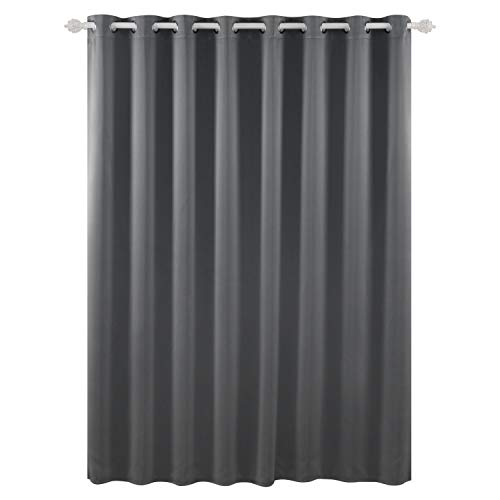 Deconovo Curtains Grommet Drapes Sliding Door Curtains Thermal Insulated Wide Width Curtains for Patio 100 x 84 Inch Dark Grey One - Door Dark Panel