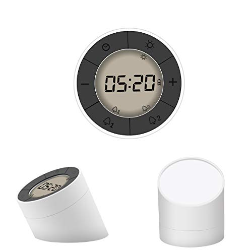 Glisteny Digital Desk Alarm Clock, LED Bedside Lamp Alarm Clock with Smart Backlight and Dimmable LED Nightlight, Elegant Round Design, Snooze Function, 2 Sets of Alarm Clock, USB Charging(White)