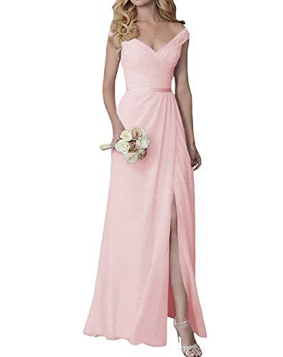 (V-Neck Bridesmaid Dresses with Slit Long Chiffon Formal Dress Pink)