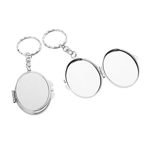 SunniMix 2pcs Folding Mirror Travel Portable Compact Pocket Mirror Keychain Egg Shape