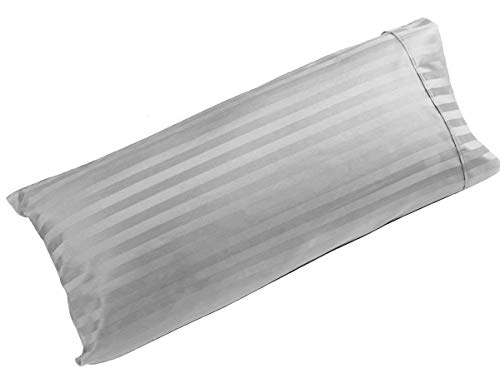 beddingstar Body Pillowcase 20x54 Pillow Cover 100% Pure Natural Cotton Luxury Quality 1-Pieces Body Pillow Case Genuine 600 Thread Count Zipper Body Pillow Cover Silver Grey Stripe