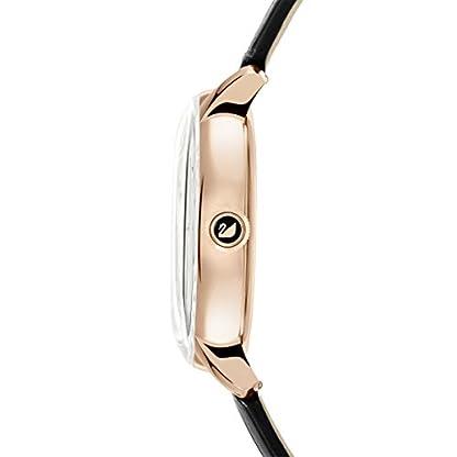 Swarovski Crystalline Hours Armbanduhr für Frauen, schwarzes Lederarmband, schwarzes Kristall, rotgold glänzendes PVD-Finish 3